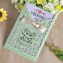 Luxurious Mint Green Wedding Invitation Card With Silk Bow Tie
