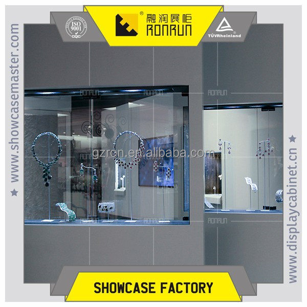 Standing super tall jewelry high cabinet with display area and led light for fashion jewelry store