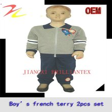 2012 high quality fashionable french terry sports wear boy top bottom set