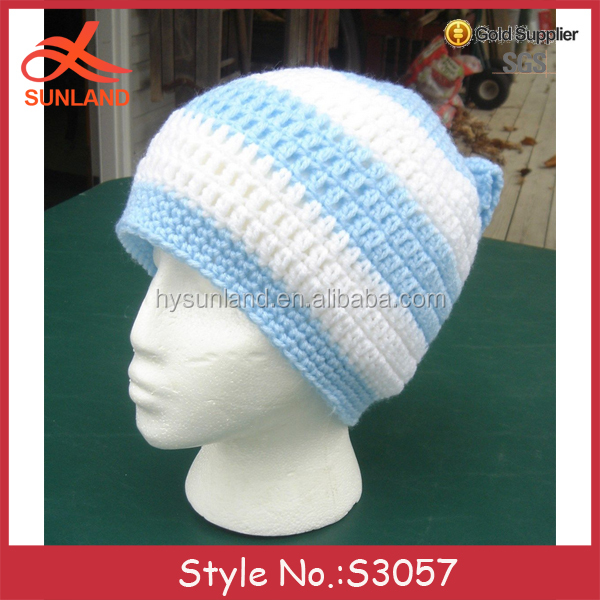 S3057 new 2017 crochet blue and white winter ponytail messy bun hats with bowknot