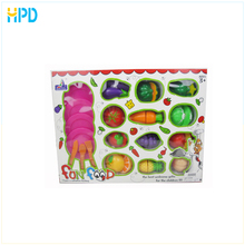 Children kitchen mini pretend play set plastic cutting vegetables toy and fruit