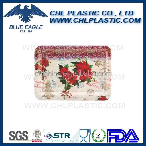 Christmas design plastic rectangular tray with customized decal