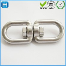 Steel Double Round Eye Swivel Bolt Hook Silver Flip Hook