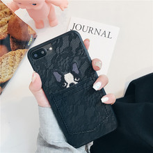 Luxury Cartoon Animal Dog Pet 3D Embroidery leather case for iphone7
