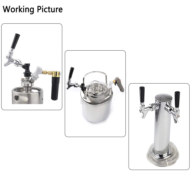 Chrome Plated Brass Draft Beer Keg Tap Faucet With Black Handle  Tap Brush  Faucet Cap For Home Beer Brewing