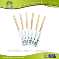 2014Hot sell wrapped with paper sleeve disposable bamboo chopsticks good quality logo printed circle bamboo chopstick