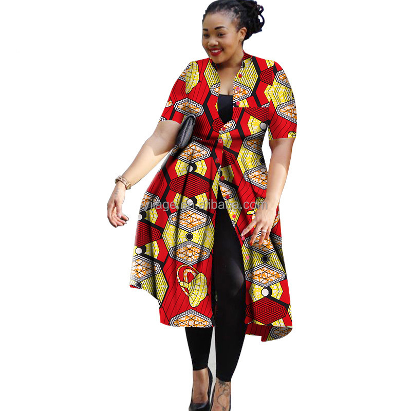 Plus Size African Attire Short Sleeve African Print Shirt Dress Wholesale