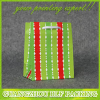 (BLF-PB436) Red green white colored cheap small paper gift bags with handles