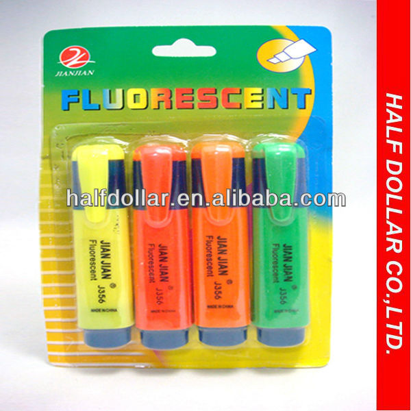 multi colored flat highlighter/high standard shaped marker highlighter pen/highlighter marker