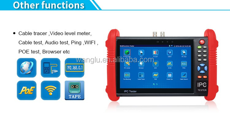 7 inch ips touch screen AHD/CVI/TVI ipc cctv camera tester