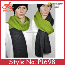 P1698 Men's knit scarf / Grey and Olive green hand knit scarf / Long scarf muffler