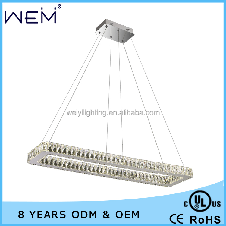 Elegant Design One Layer Square LED Crystal Pendant Lamp UL CUL Standard