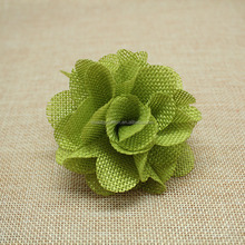 "Hot-selling Craft 3"" Big Linen Fabric Hair Flower,Burlap Flower For Decorative"
