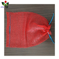 Small HDPE raschel mesh shopping drawstring bag with handle for vegetables wholesale