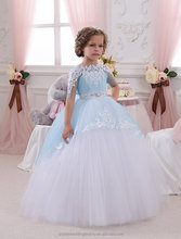Latest Children Frocks Birthday Lace Long A Line Flower Girl Dresses Pattern Kids Party LF18