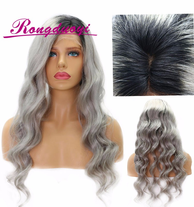 2017 New Design Three Tone Ombre Grey Human Hair Body Wave Full Lace Wig with Silk Top Baby Hair