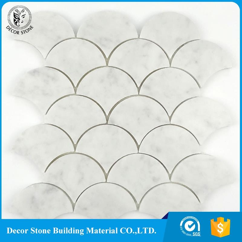 Italy Bianco Carrara White Marble Fan Shape Fish Scale Design Mosaic Pattern Tile
