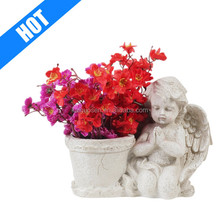 customized polyresin antique white praying angel planter for sale