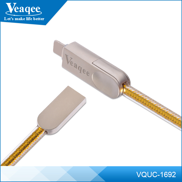 Veaqee high speed sync Metal head USB data cable jelly 2in1 USB data cable for cell phone