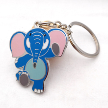Custom cartoon elephant enamel keychain animal metal key chain
