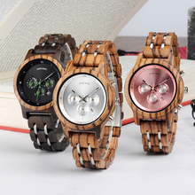BOBO BIRD Vintage Women Chronograph Military Wooden Watches Top Brand Luxury Stainless Steel Watch in wood box