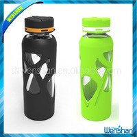 Black glass water bottle with silicone sleeve