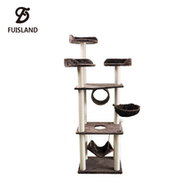 Fantasy Giant Luxury Wooden Cat Climbing Toys Tree Tower with Hammock