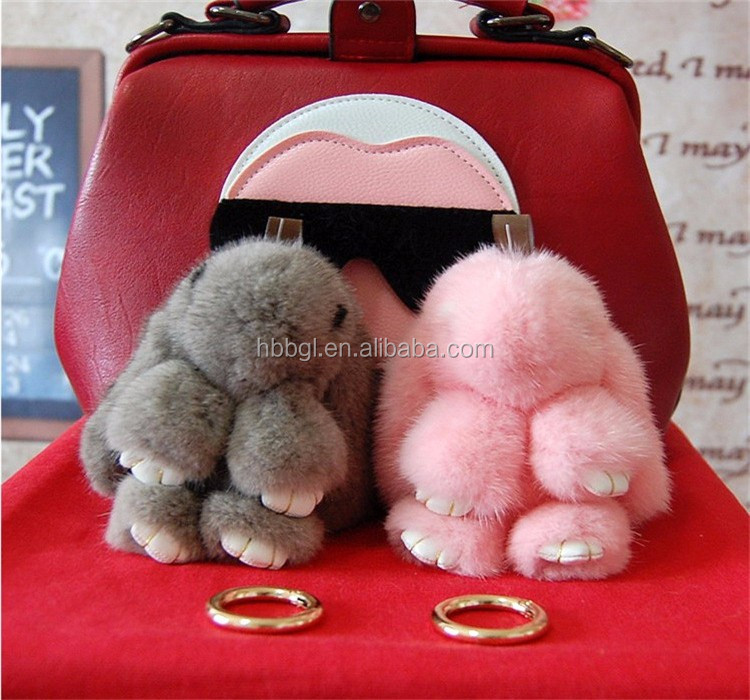 Top grade big lovely real Dead rabbit fur bunny bag charm
