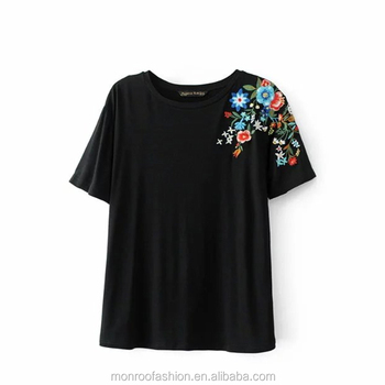 monroo Fashion Women's O-Neck Short Sleeve Shoulder Flower Embroidery T-shirt Leasure Summer Tees Causal Wear black T shirt T006
