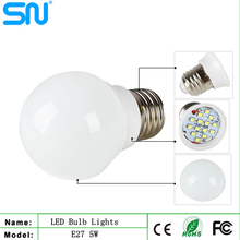 High brightness plastic housing 5w e27 led bulb lamp with CE RoHS