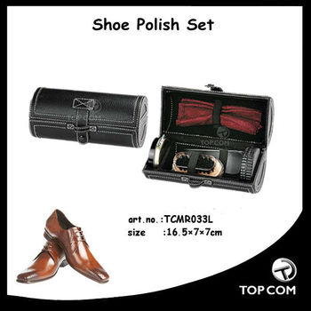 popular shoe cleaning set with shoehorn and brush in pu case