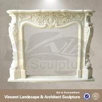 2015 high quality home decor white marble butane fireplace