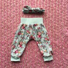 persnickety girls fashion clothes 2 pcs floral cotton print baby pants matching headband