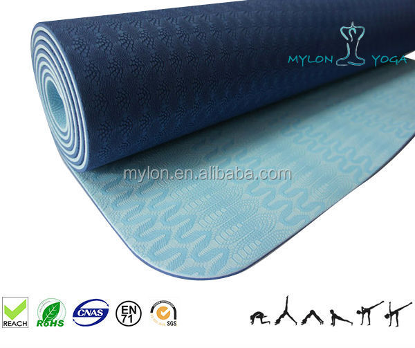 TPE yoga mats with printed nylon bag with zipper on one end &carry belt