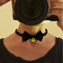 Man Woman Sexy Choker Cheap Black Elastic Band Bowknot Necklace