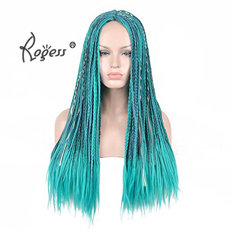 High quality Women's Anime Cosplay Wig Blue Long Braided Synthetic Wig Halloween Costume Braids Wigs