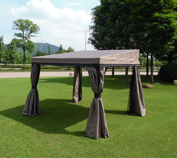 Outdoor Patio Steel Gazebo With Mosquito Netting