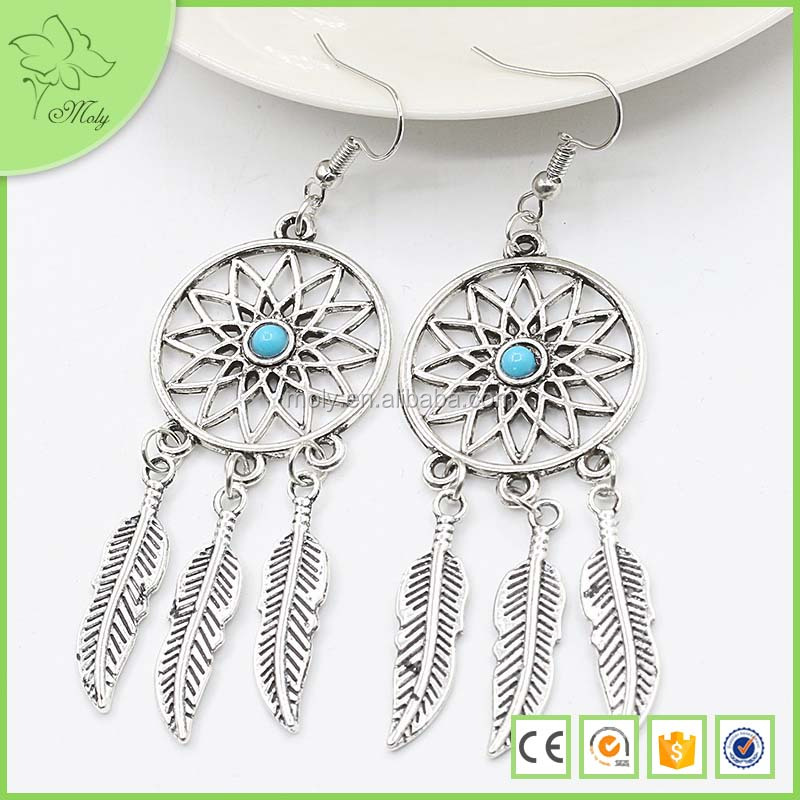 2016 Hot Selling Ancient Turquoise Beads Feather Dream Catcher Earrings
