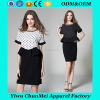2017 black spot slim waist office lady latest fashion dress design