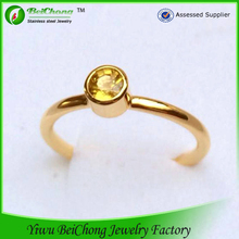 2014 joyas de acero inoxidable fashion one stone ring designs