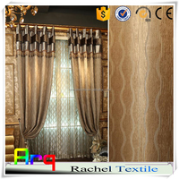 Luxury heavy hotel use 100% polyester linen cotton look curtain fabrics blackout modern style- flame resardant