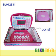 Kids toy Polish and English/plastic educational toy laptop