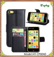 9 Colors PU Leather + PC Litchi Pattern Wallet Card Stand Cover Holster Magnetic Flip Phone Case For iphone 5C