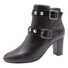 European Style Women Black High Heel Winter Shoes Rivet Buckle Strap ankle boots