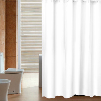 Waterproof Peva Material Plain White Shower Curtain With Plastic hooks