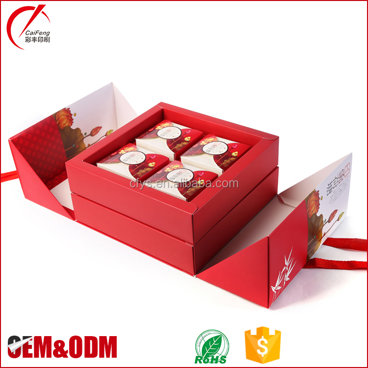 2017 China luxury hot Sale soft cardboard mooncake folding packaging box with handle
