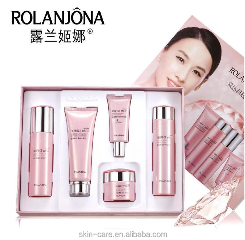 Rolanjona perfect white wholesale skin whitening facial kit 5 in 1