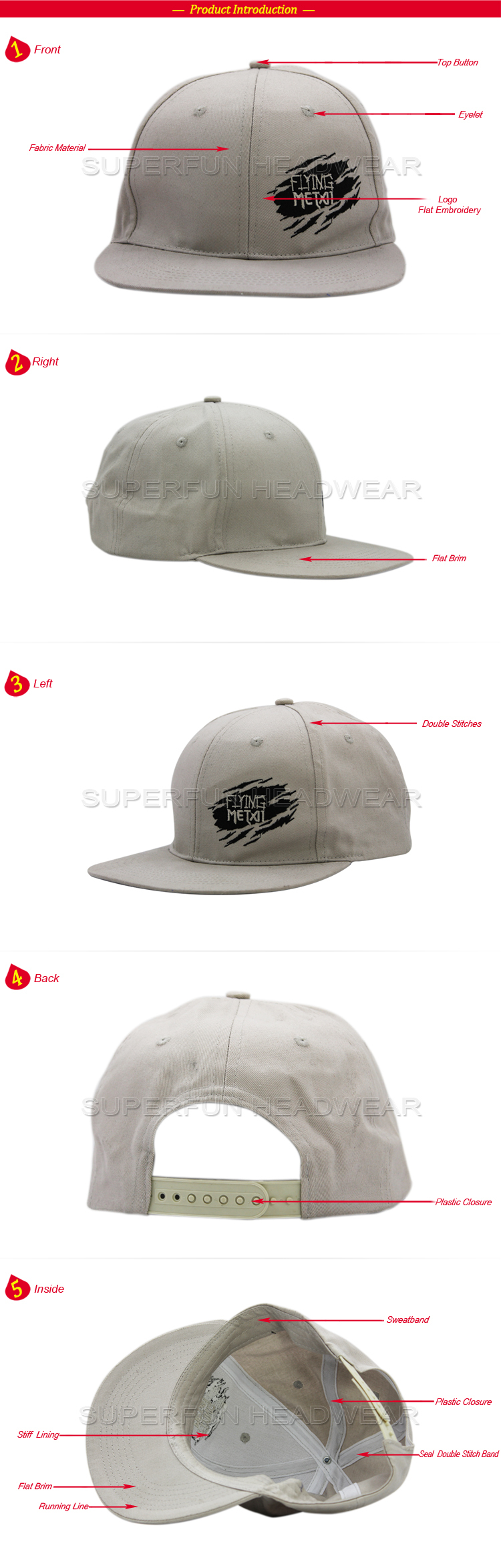 printed design popular solid color snapback cap