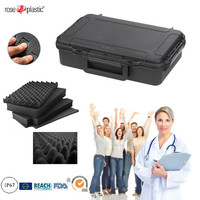 Solid plastic packaging tool instrument case with handle cubed convoluted foam IP67 waterproof RC-PS 195 L