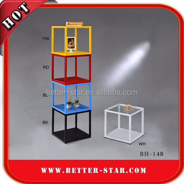 Wholesale wine display cube shelves/stackable wine cube display stand/retail floor glass metal cube display for shop